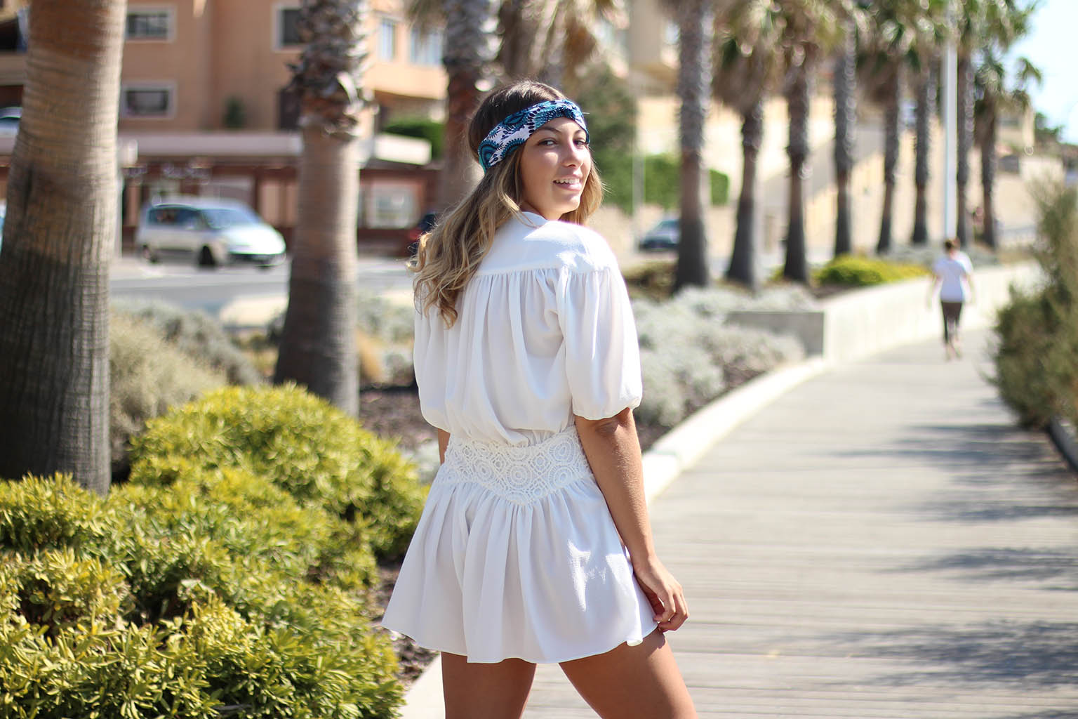 look, plage, summer, fashion, jumpsuit, combinaison, headband
